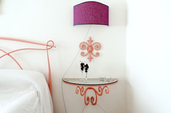 Hand made bedside table and lampshade