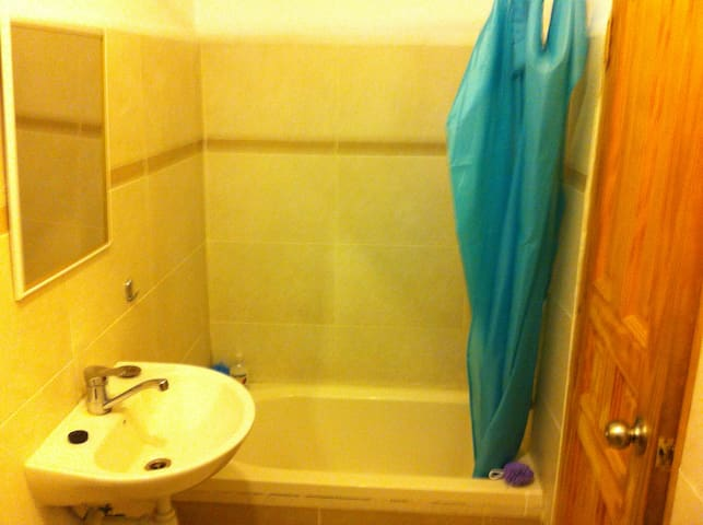 small bath/shower, washing machine, and toilet