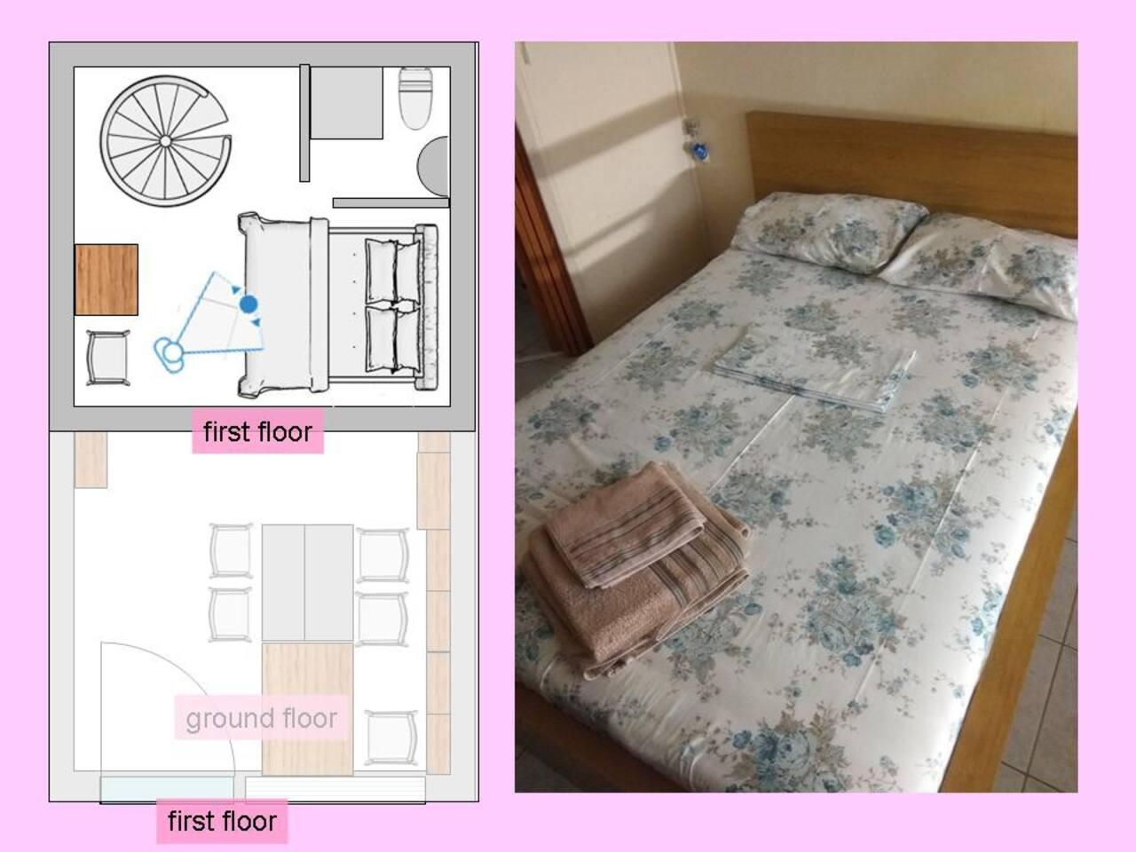 Φωτογραφία από το πατάρι. Με το διπλό κρεβάτι. Το στρώμα είναι μαλακό
