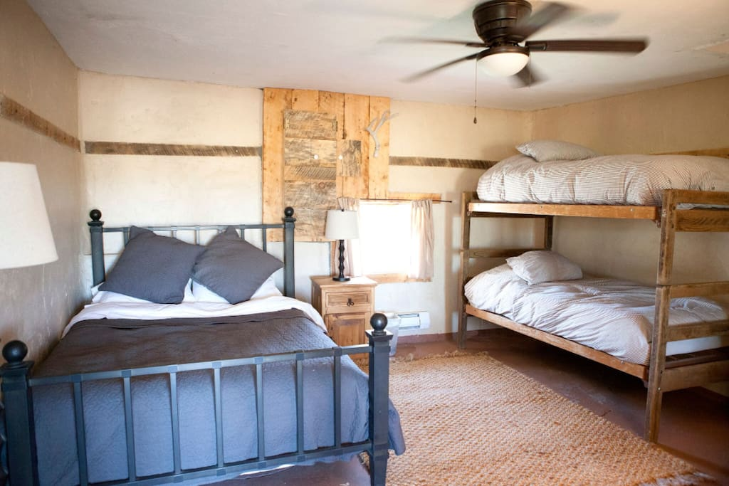 Cozy bedrooms that sleep up to 4 with heating in the winter and a lovely ceiling fan for warmer nights.