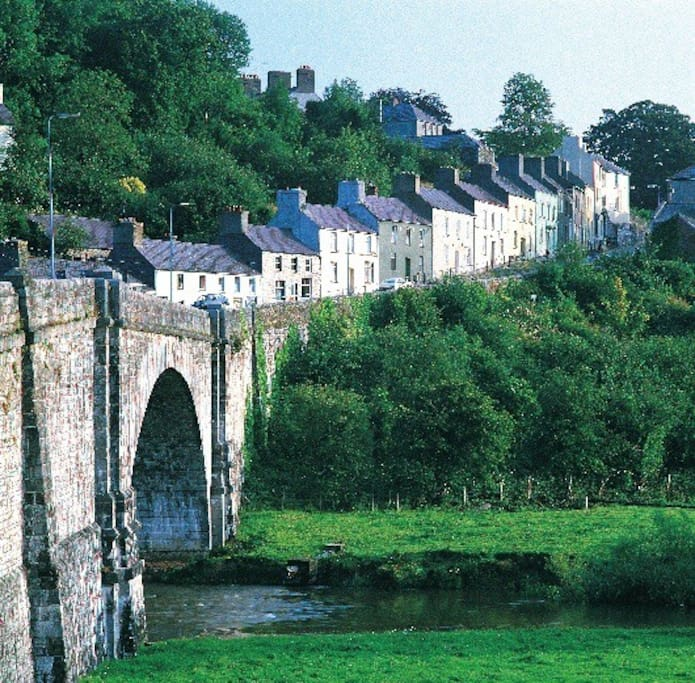 Towy River and historical stone bridge.