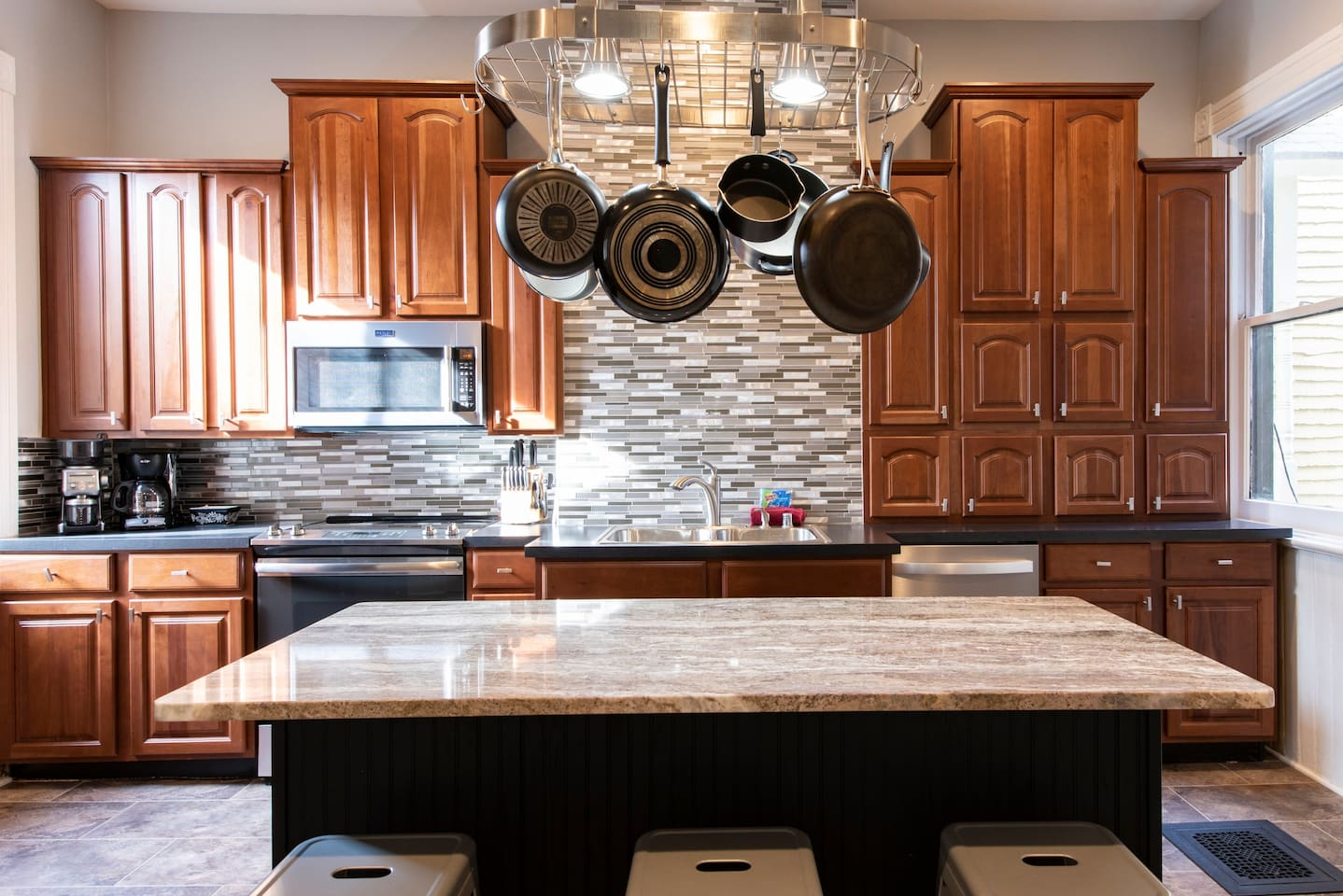 Large, remodeled kitchen with all new, state of the art appliances!  Fully stocked for preparing and serving gourmet meals.