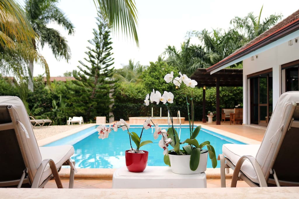 A gorgeous swimming pool is featured outdoors