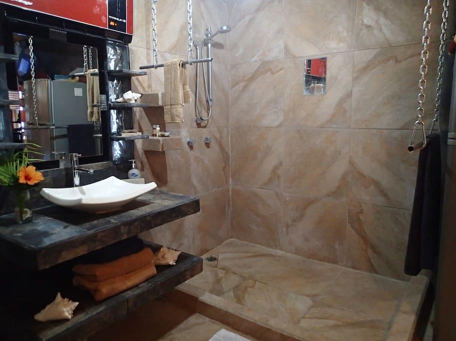 Salle de bain privé à aire ouverte (chambre cour arrière)