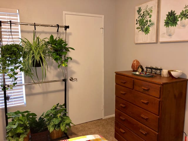 With plenty of storage space in the dresser and under the raised bed frame, you have plenty of free space in the room to set up a mini office, practice some yoga, or just relax.