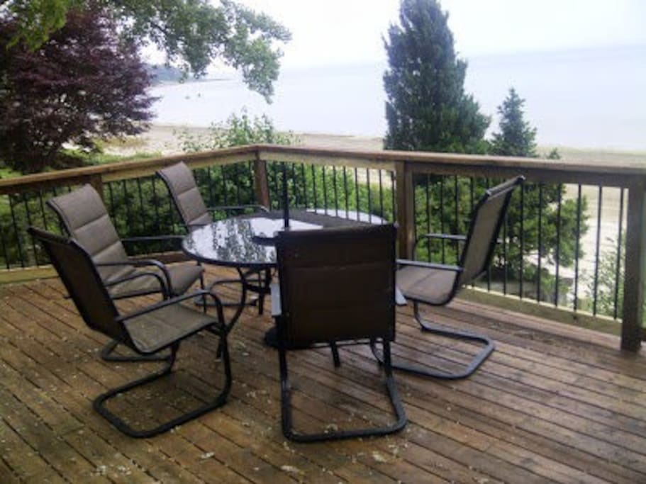 Enjoy the view of Lake Erie from the shaded deck