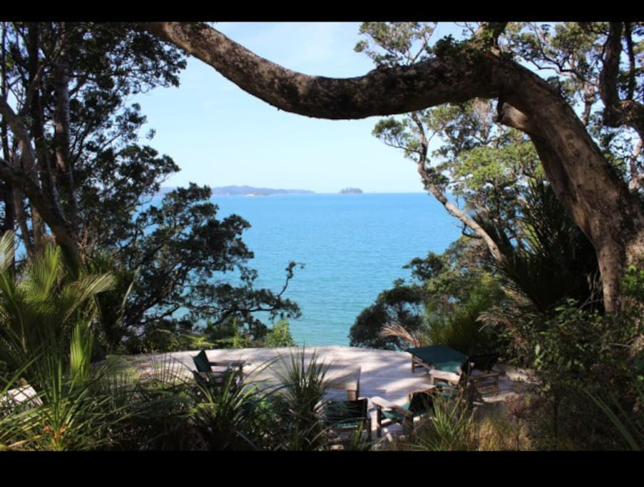 View from Johny's deck out to Kawau Bay
