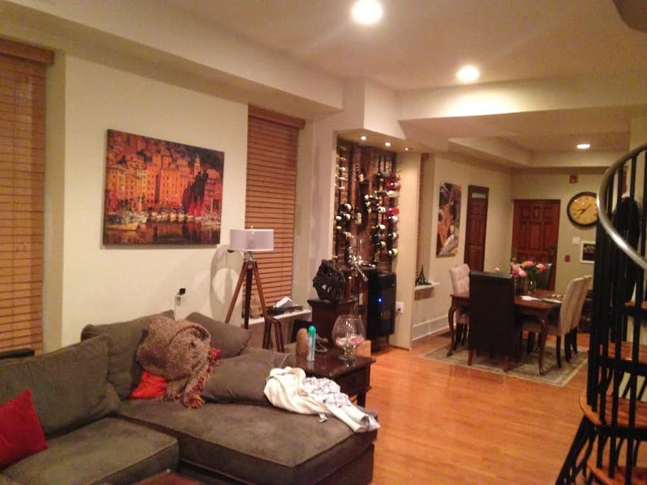 Main living room into dining room
