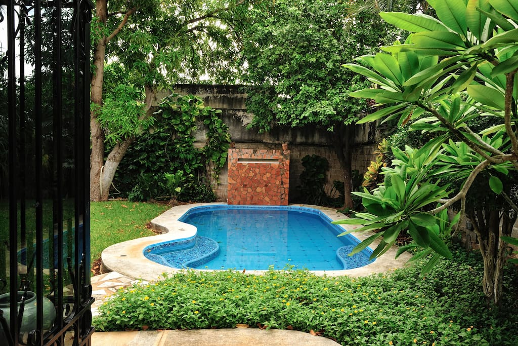 View of pool from front entrance.