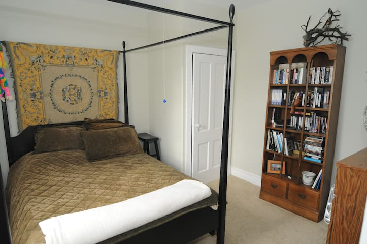 Second bedroom with Queen size bed and dresser and closet