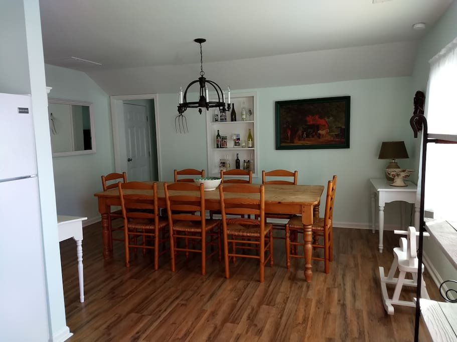 Dining room featuring the family's farm table