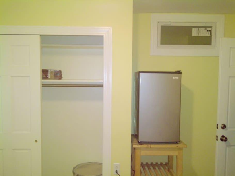 Large closet & mini-refrigerator