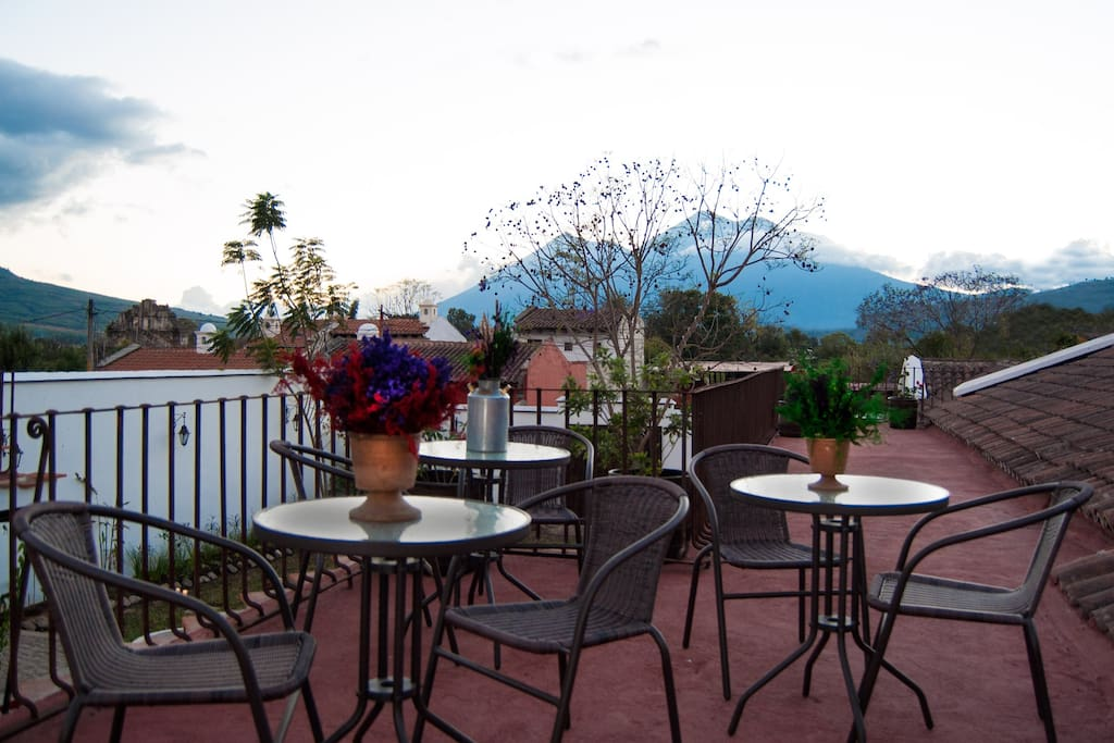 Roof top terrace with view to the Agua, Fuego & Acatenango Volcanoes
