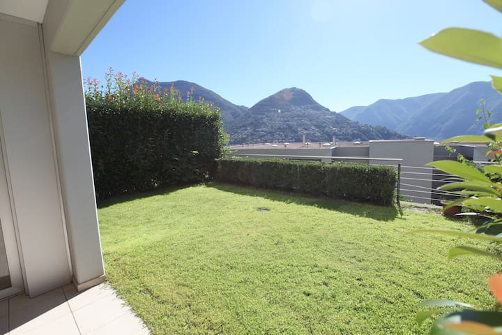 Apartment in Lugano garden, terrace, swimming pool