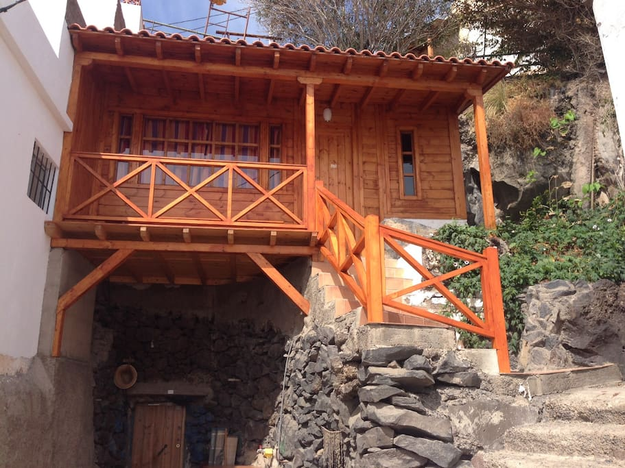 Front side, access to the cave- part via outside-stairs with new banisters