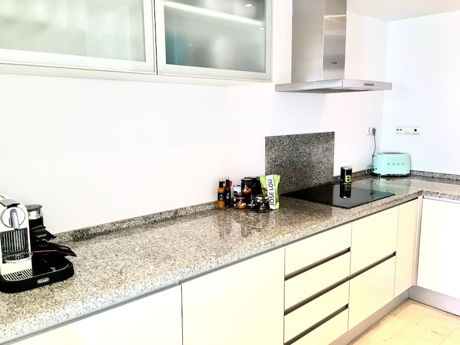 The brand new modern kitchen with Bosch appliances and also SMEG fridge and small appliances