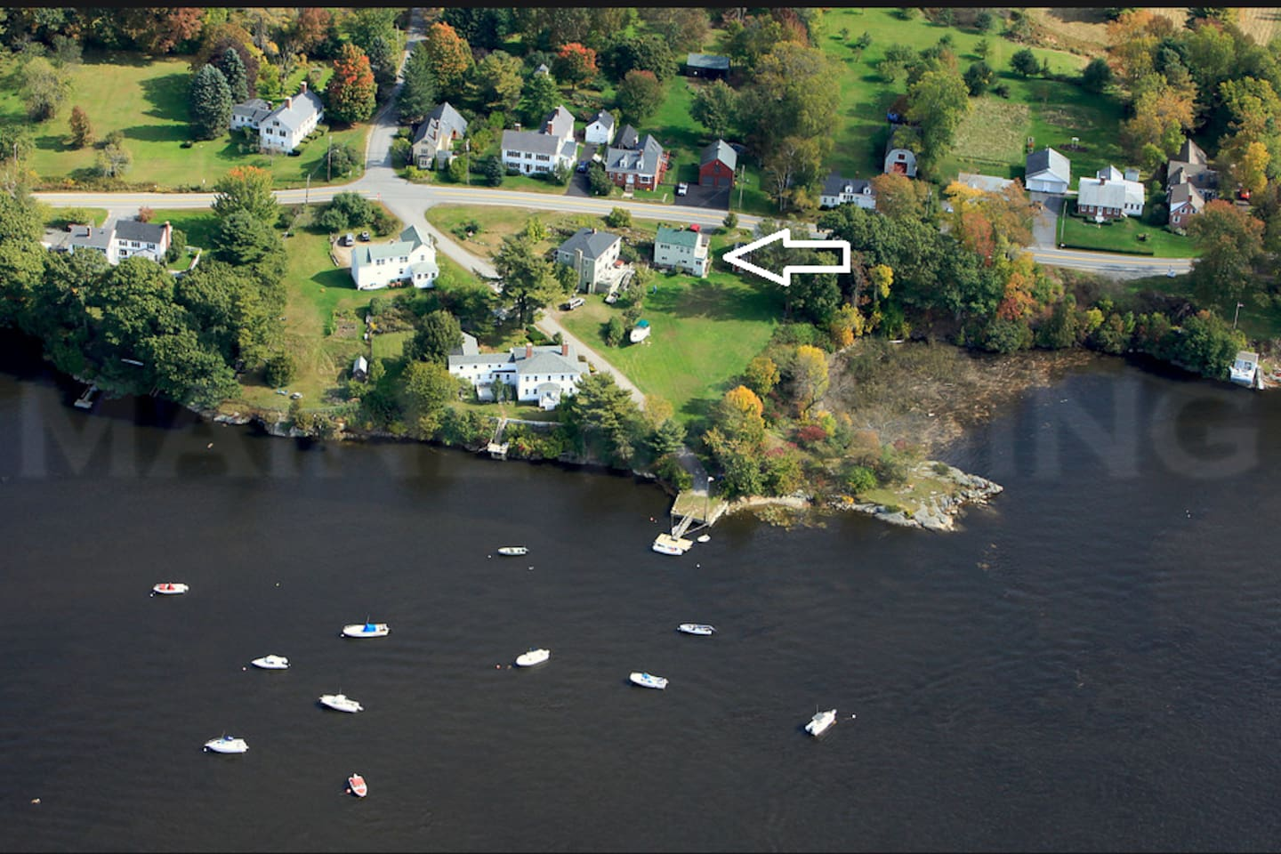 Days Ferry Village from above (the little house noted)