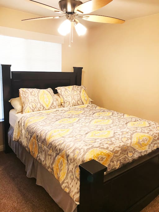 Private Bedroom, includes: Queen Bed with Anti-Allergy Mattress and Pillow Covers
