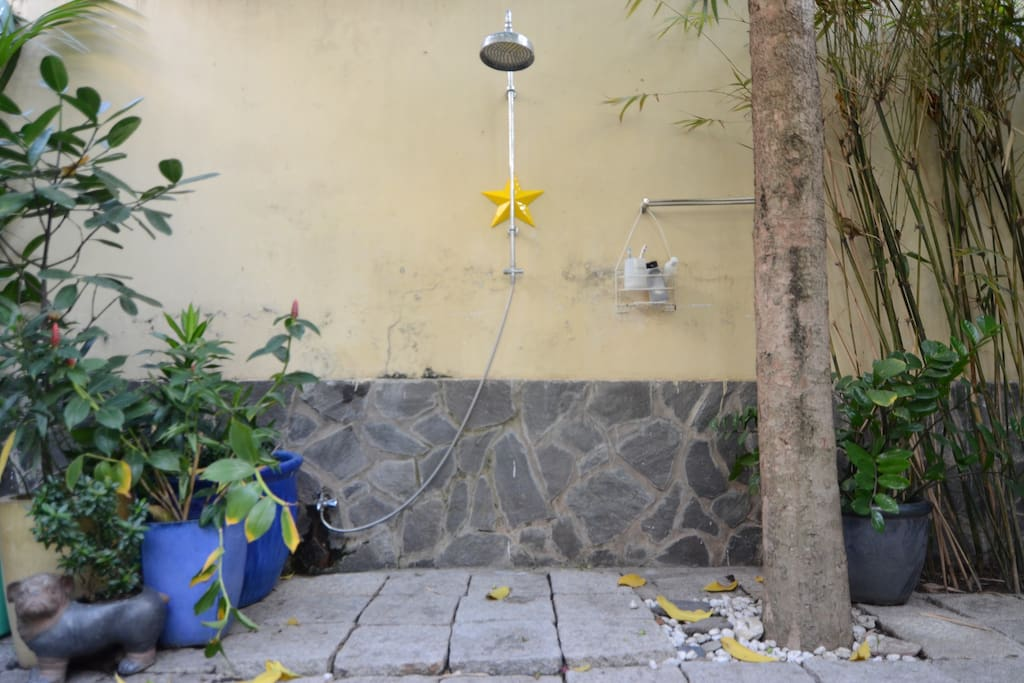 Outdoor shower for cool down during hot days
