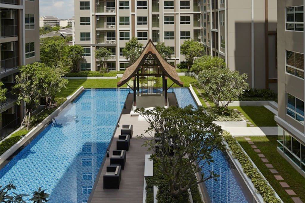 Pool and green space