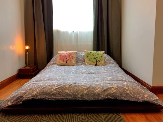 Bedroom 1 with comfortable japanese futon bed & super comfy mattress