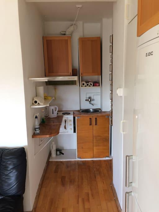 Te-kjøkken med hybelkomfyr og kjøleskap/fryser