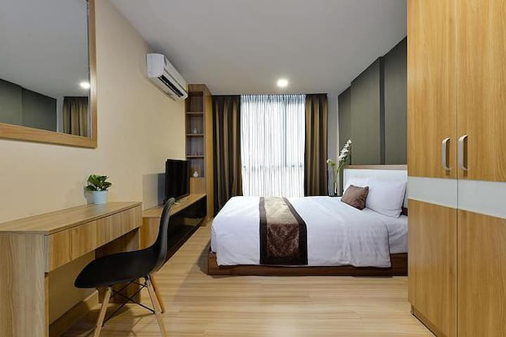 Bedroom and spacious desk area