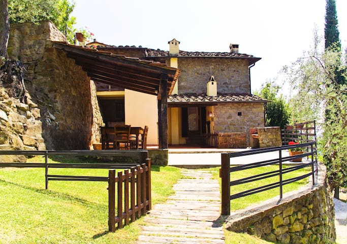 entrance and the terrace with a beautifull view over the Chianti hills