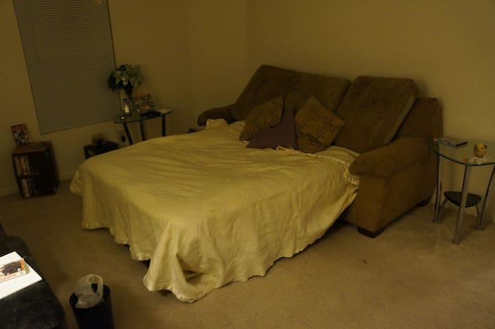 Pull out couch sleeps 2-3 pretty easily. We also have a pillow top topper, to add padding to the fold up mattress.