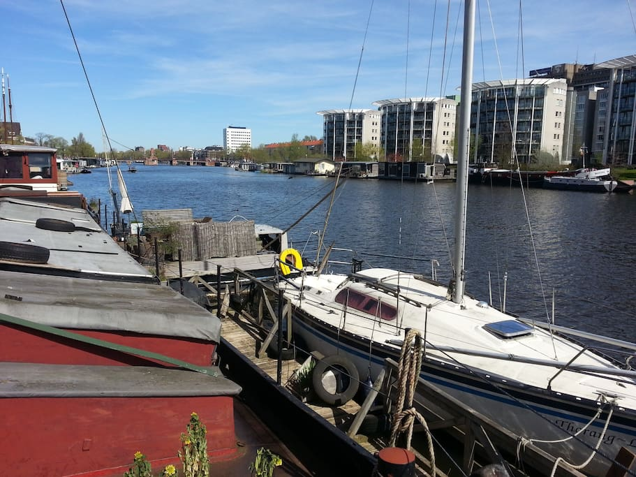 Great view of the Amstel river going into city centre.. 20 min walk