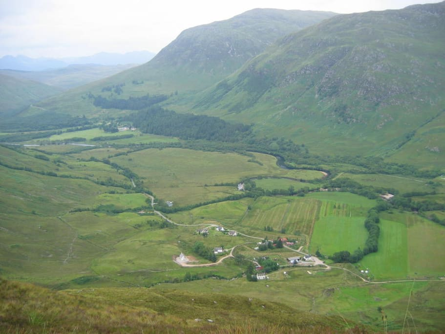Looking down on Camusluinie from the mountains