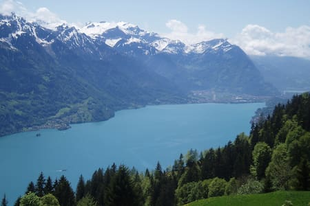romantic typical Swiss village on Lake Brienz - Iseltwald
