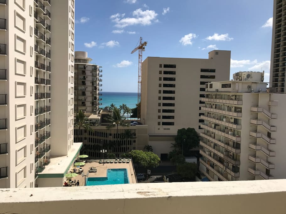 The wonderful view of Waikiki from your veranda/lanai. Note: pool is NOT part of the building