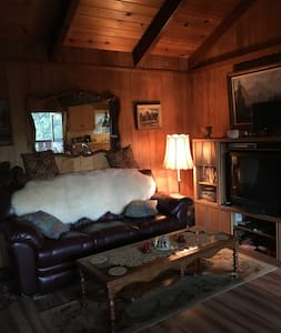 Retreat Cabin for R&R, fireplace, AC, hiking, view - Crestline - Stuga