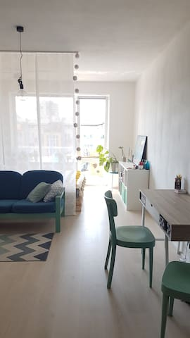 Living room is separated from sleeping area