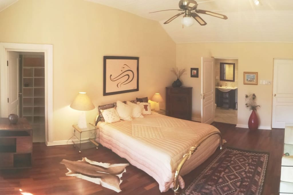 Sazzzman's Guestroom with a comfortable Italian queen size bed.