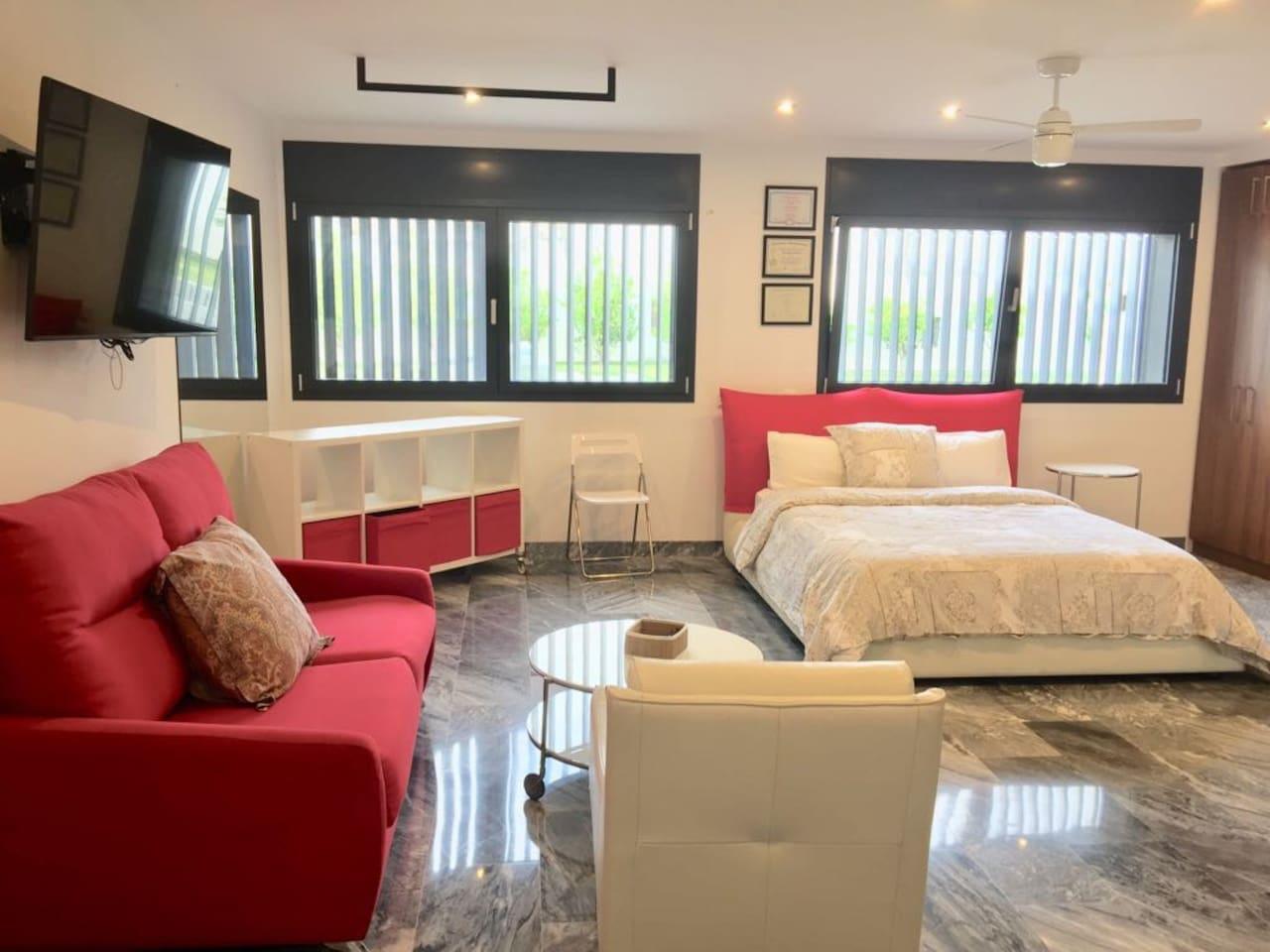 Vista general : Cama, Sofa cama, poltrona y mueble organizador.