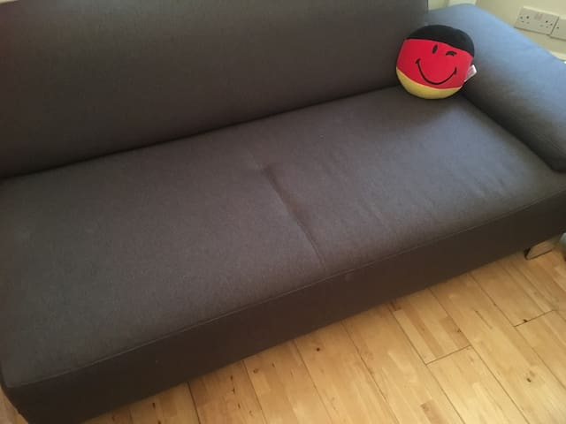 Comfortable couch/sofa bed in a warm room.