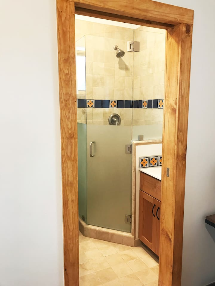 Bathroom slide door entry