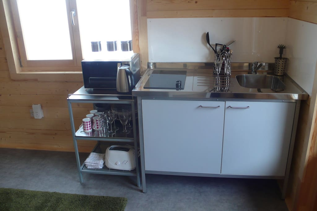 Fully equipped kitchen, including fridge, microwave and hob