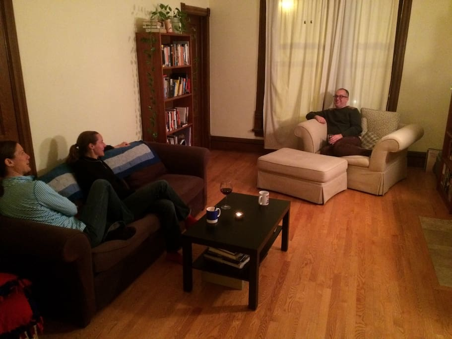 Friends enjoying the living room space