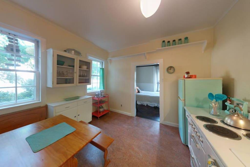 Happy, clean, large kitchen.