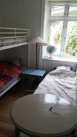 Room with 3 beds, cheap and simple.