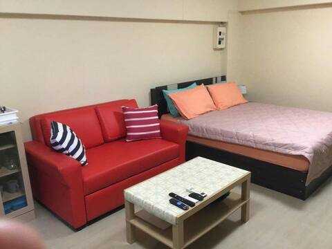 Rayong studio apartment. Queen bed and a couch bed
