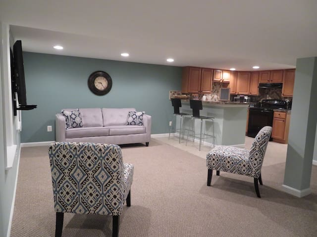 Open space with breakfast bar.