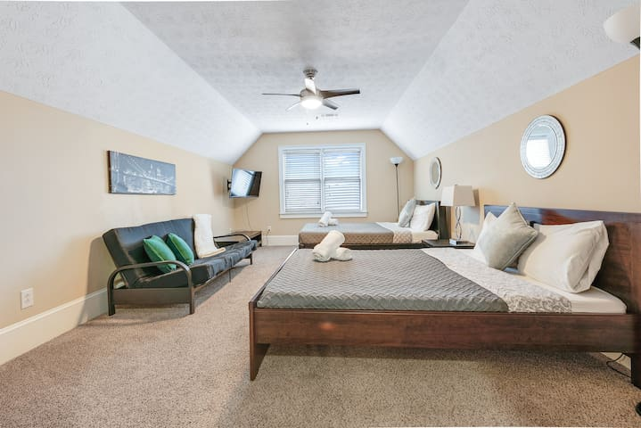 Extra large bedroom on upper level, flat screen TV, sleeper sofa for additional guests