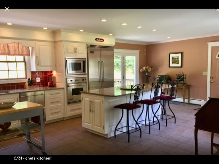 Large kitchen. You can eat at the island or use the dining room.