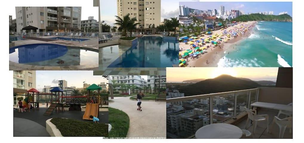 Lazer completo: Piscinas Aq.,  Playground e Praias