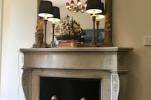 Marble mantels, gilt mirrors, antique furniture in the Commodore Suite