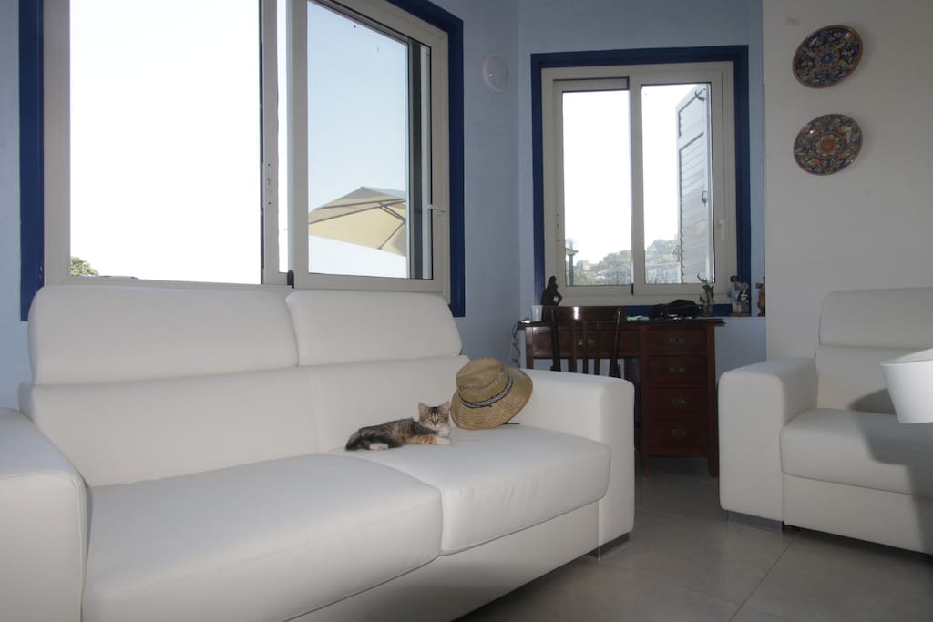 The Living Room with view on the Island and sofa bed
